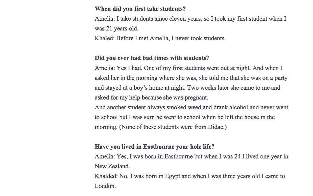 Celine's Interview English lesson2